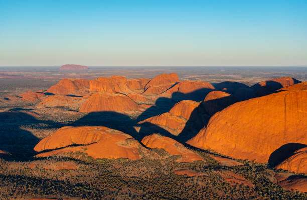 Aerial View Of Kata Tjuta In The Evening Sun stock photo