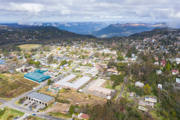 Aerial view of Katoomba in The Blue Mountains in Australia stock photo