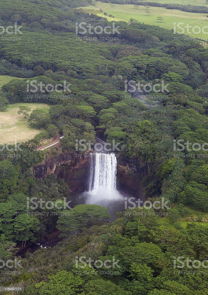 Aerial View of Kauai Hawaii Angel Falls royalty-free stock photo