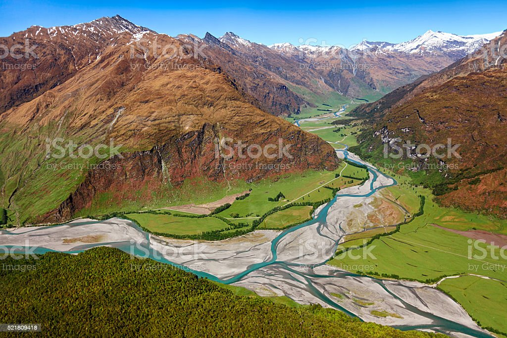 Aerial view of Kawarau River valley, near Queenstown, New Zealand stock photo