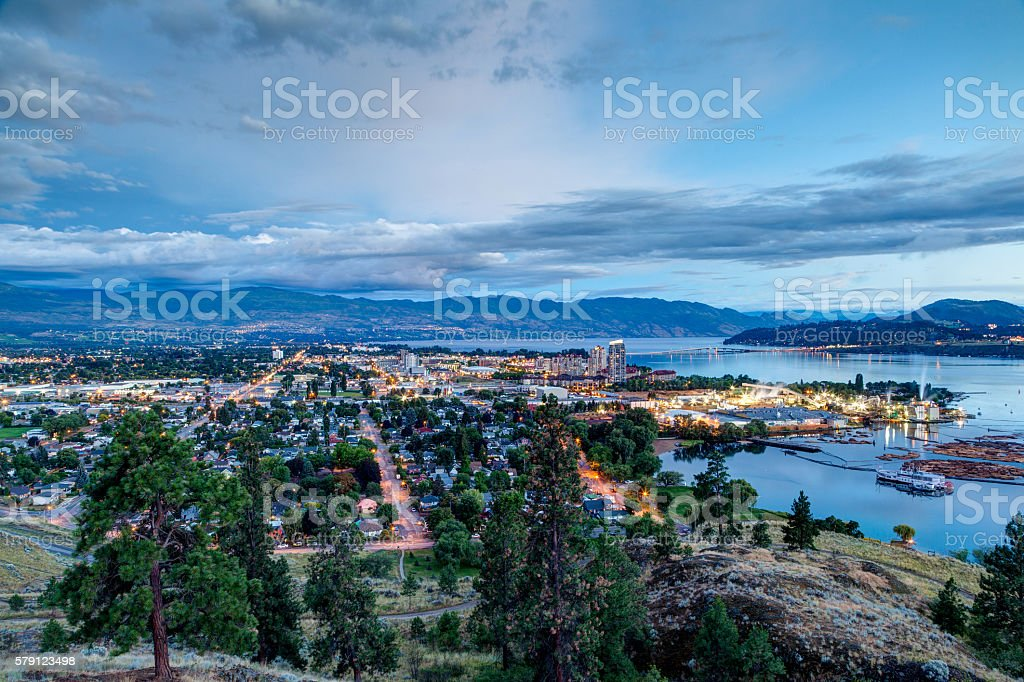 Aerial View of Kelowna Skyline at Night stock photo