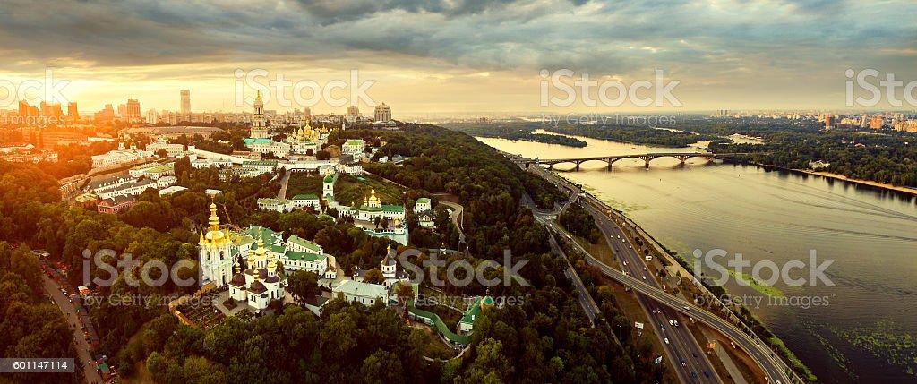 Aerial view of Kiev-Pechersk Lavra monastery, Ukraine royalty-free stock photo