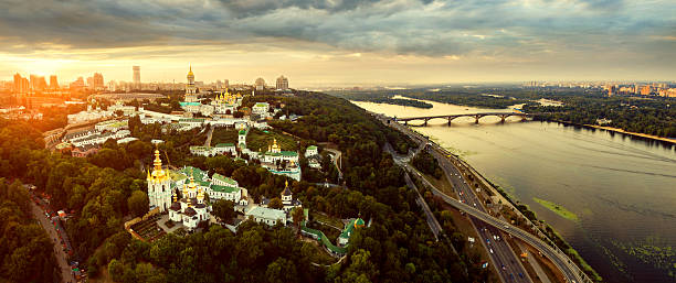Aerial view of Kiev-Pechersk Lavra monastery, Ukraine stock photo