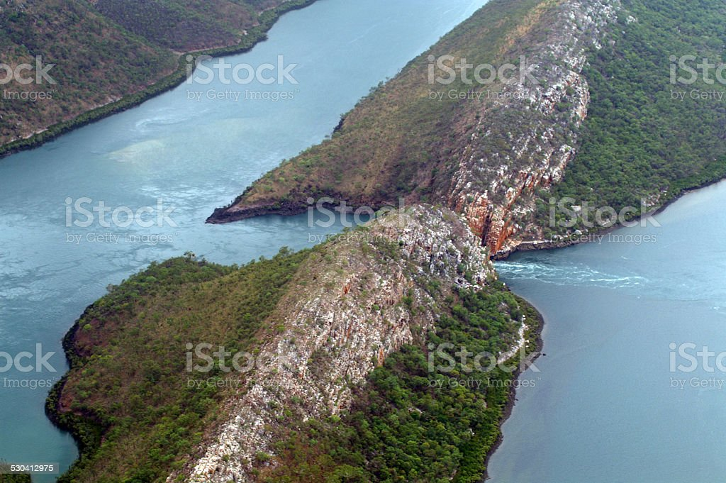 Aerial view of King Sound Broome Western Australia stock photo