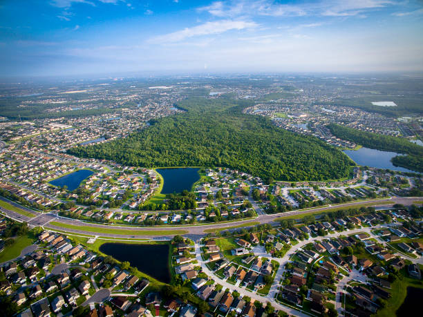aerial view of kissimmee florida - kissimmee stock photos and pictures