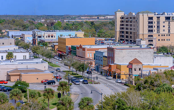 aerial view of kissimmee's historic downtown - kissimmee stock photos and pictures
