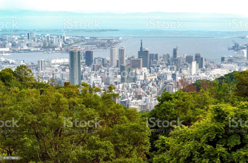 Aerial view of Kobe city and Port Island of Kobe from Mount Rokko, skyline and cityscape of Kobe, Hyogo Prefecture, Japan stock photo