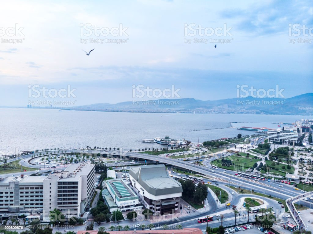 Aerial View of Konak, Izmir, Turkey stock photo