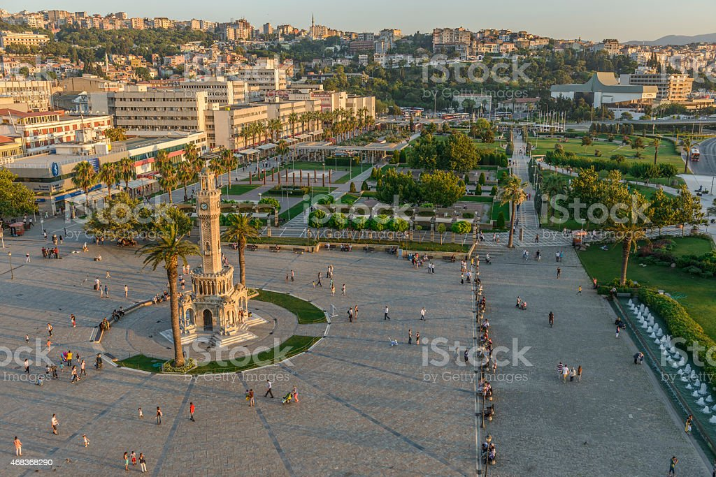 Aerial view of Konak Square in Izmir, Turkey stock photo