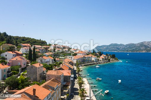 Aerial view of Korcula, Croatia