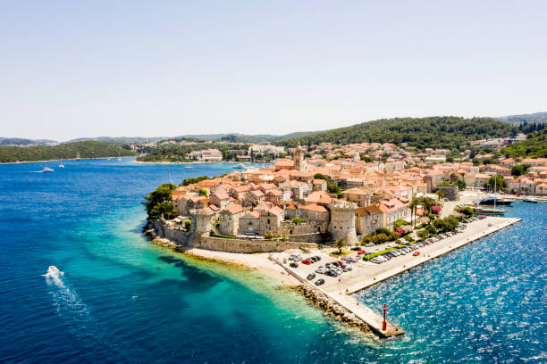 Aerial view of Korcula, Croatia Aerial view of Korcula, Croatia croatian culture stock pictures, royalty-free photos & images