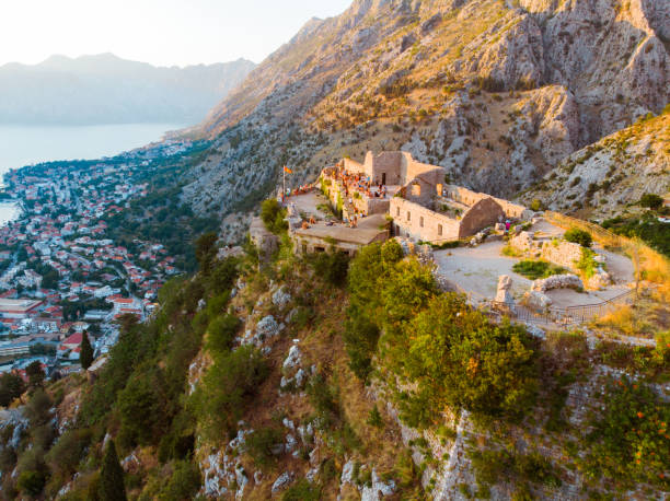 aerial view of kotor fortes in montenegro stock photo
