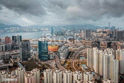 Aerial view of Kowloon Bay, Hong Kong.