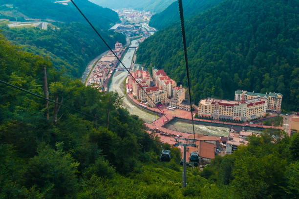 Aerial view of Krasnaya Polyana, Russia Aerial view of Krasnaya Polyana taken from the cabin of cableway, Russia sochi stock pictures, royalty-free photos & images