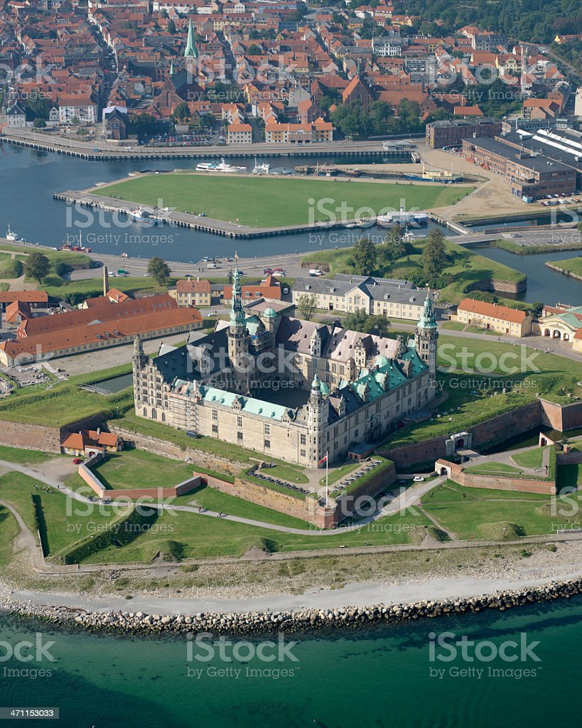 Aerial view of Kronberg Castle and surrounding moat stock photo