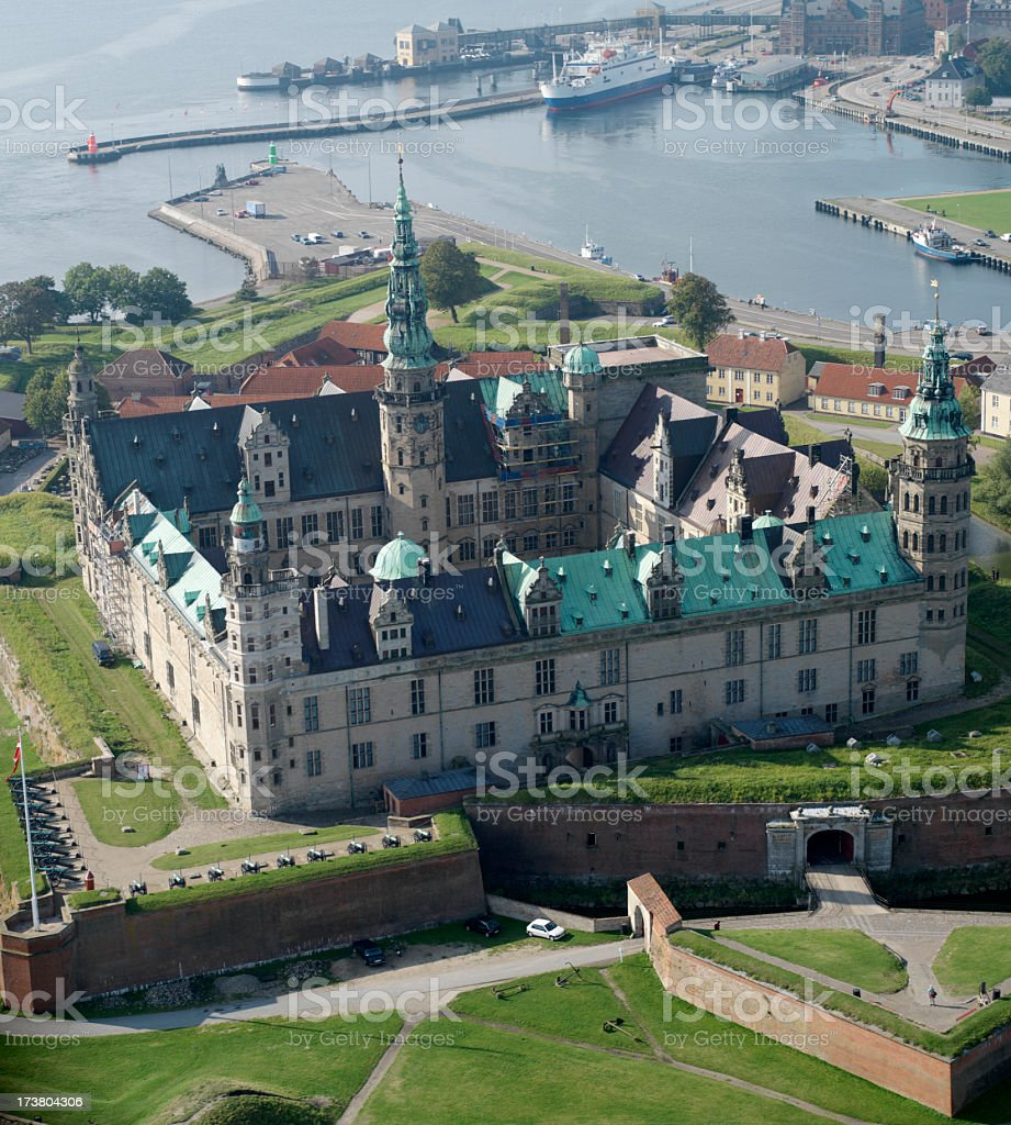 Aerial view of Kronborg Castle stock photo