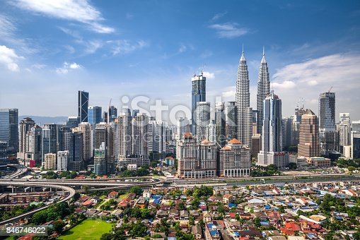 Elevated view of Kuala Lumpur skyline.