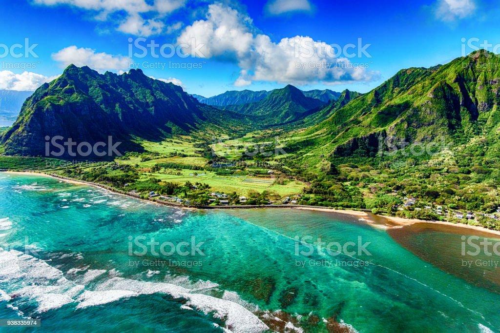 Aerial View of Kualoa area of Oahu Hawaii stock photo