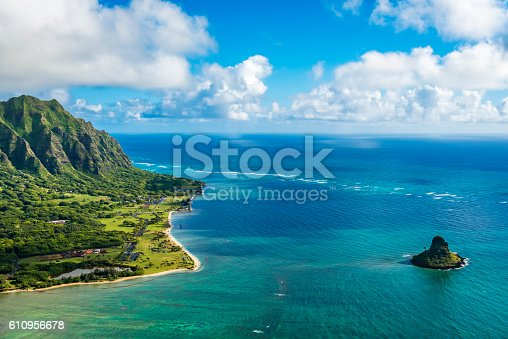 istock Aerial view of Kualoa Point and Chinamans Hat, Kaneohe Bay 610956678