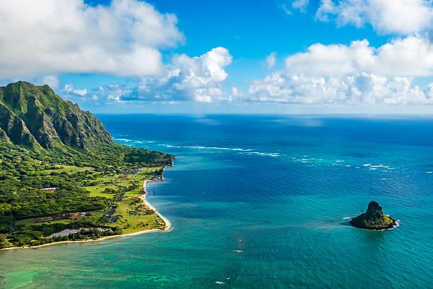 Aerial view of Kualoa Point and Chinamans Hat, Kaneohe Bay stock photo