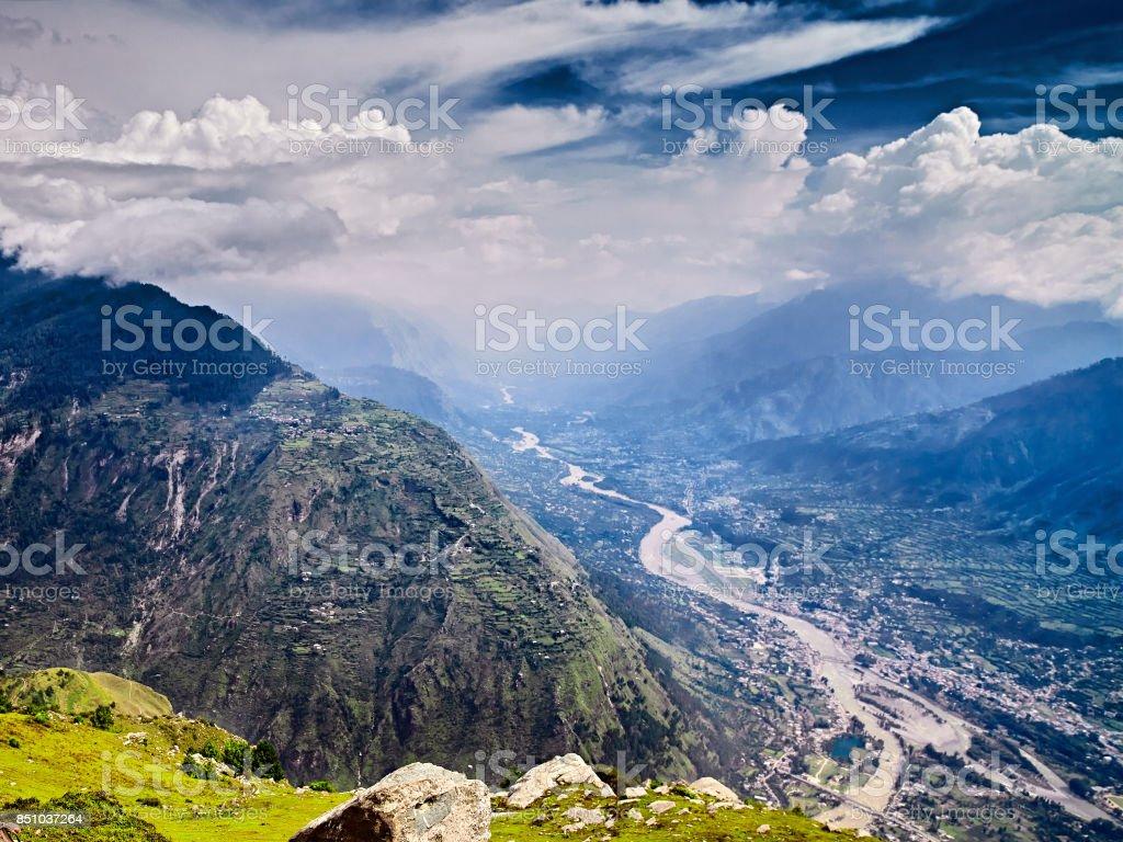 Aerial view of Kullu valley stock photo