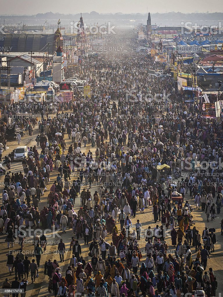 Aerial View of Kumbh Mela 2013 in Allahabad, India royalty-free stock photo