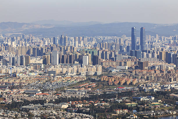 aerial view of kunming, china - 쿤밍 뉴스 사진 이미지