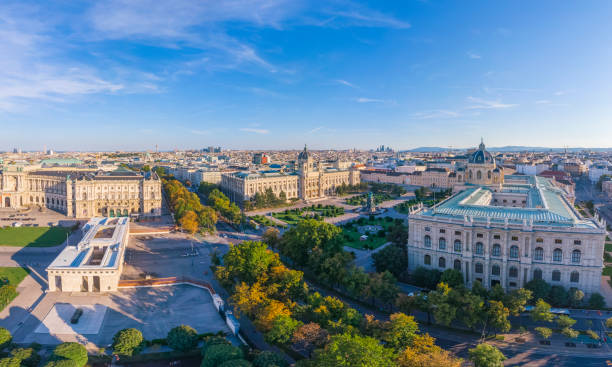 Aerial view of Kunsthistorisches Museum and Maria-Theresien-Platz in Vienna stock photo