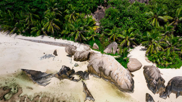 aerial view of La Digue, Seychelles stock photo