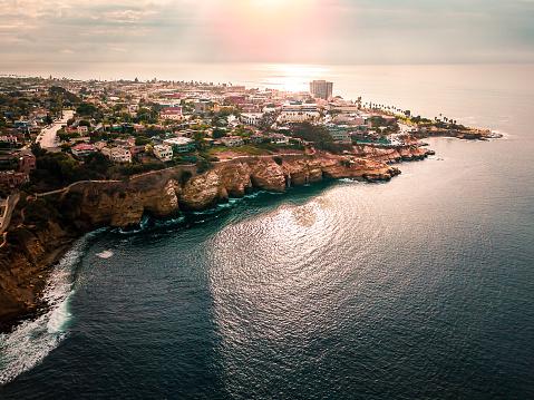 Aerial view of La Jolla coastline in San Diego