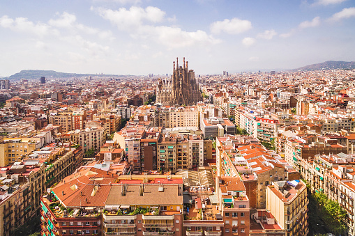 Aerial View of La Sagrada Familia Cathedral and Barcelona Cityscape, Spain