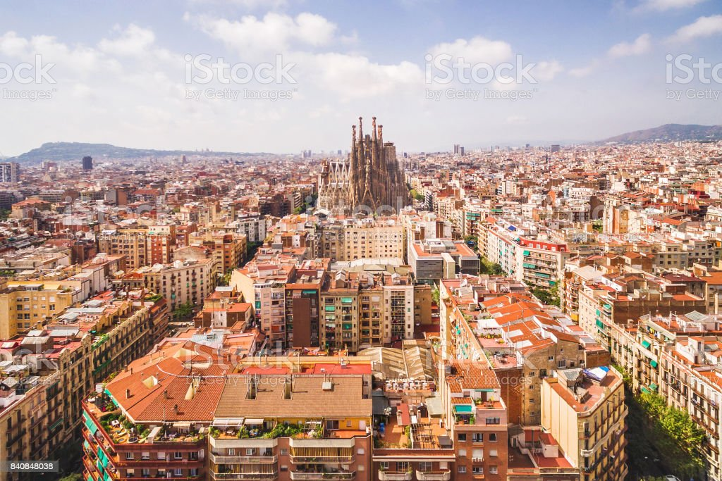 Aerial View of La Sagrada Familia Cathedral and Barcelona Cityscape, Spain stock photo