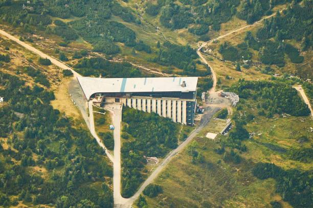 Aerial view of Labska Bouda building in Krkonose National Park, Czech republic. stock photo