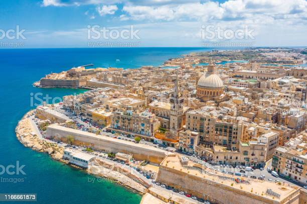 Photo of Aerial view of Lady of Mount Carmel church, St.Paul's Cathedral in Valletta city, Malta.