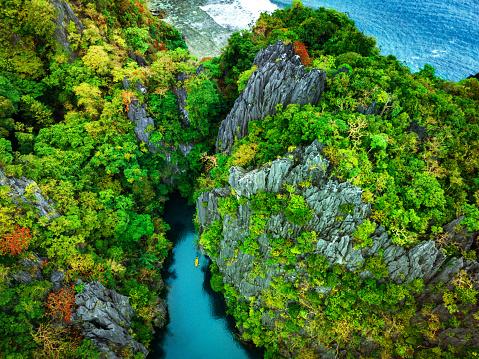 Aerial View of Lagoon with Kayaks, El Nido, Palawan, Philippines