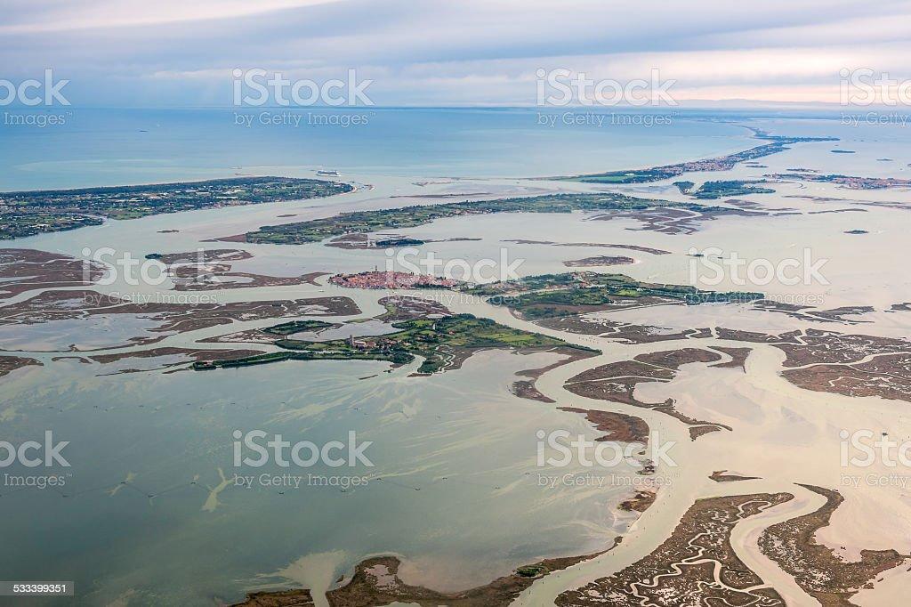 Aerial view of Lagoons near Venice, Burano, Veneto, Italy, Europe stock photo