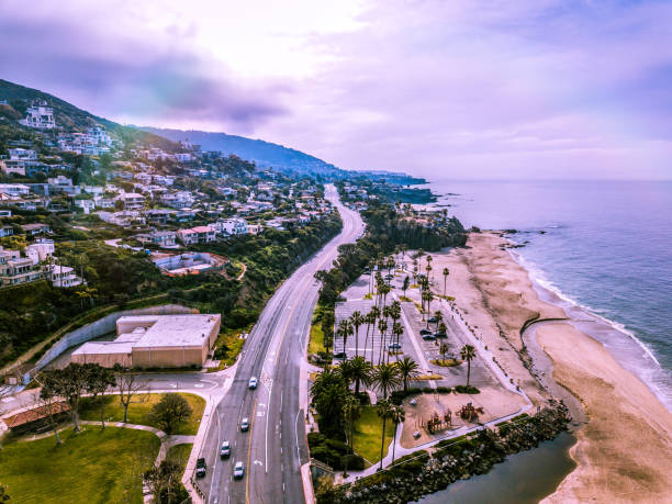 Aerial View of Laguna Beach Coast Highway and Coastal View stock photo