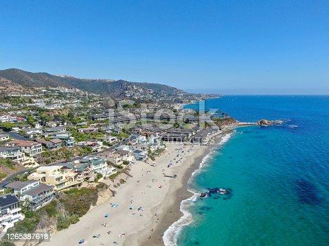 istock Aerial view of Laguna Beach coastline, California 1265387618