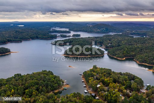 Aerial view of Lake  Allatoona just after the sunset