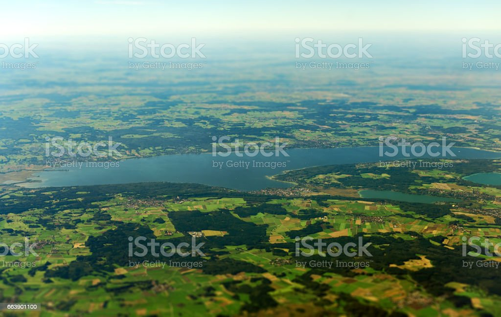 Aerial view of lake Ammer in Upper Bavaria, Germany. stock photo