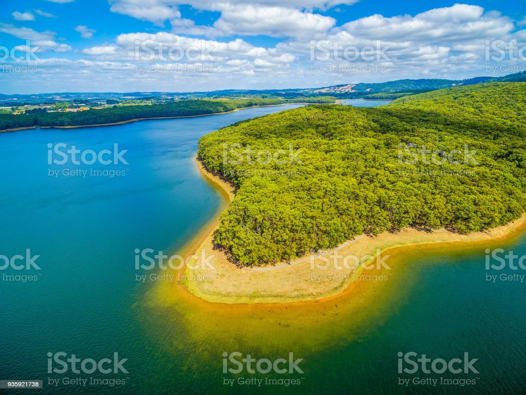 Aerial view of lake and forest in Australia stock photo