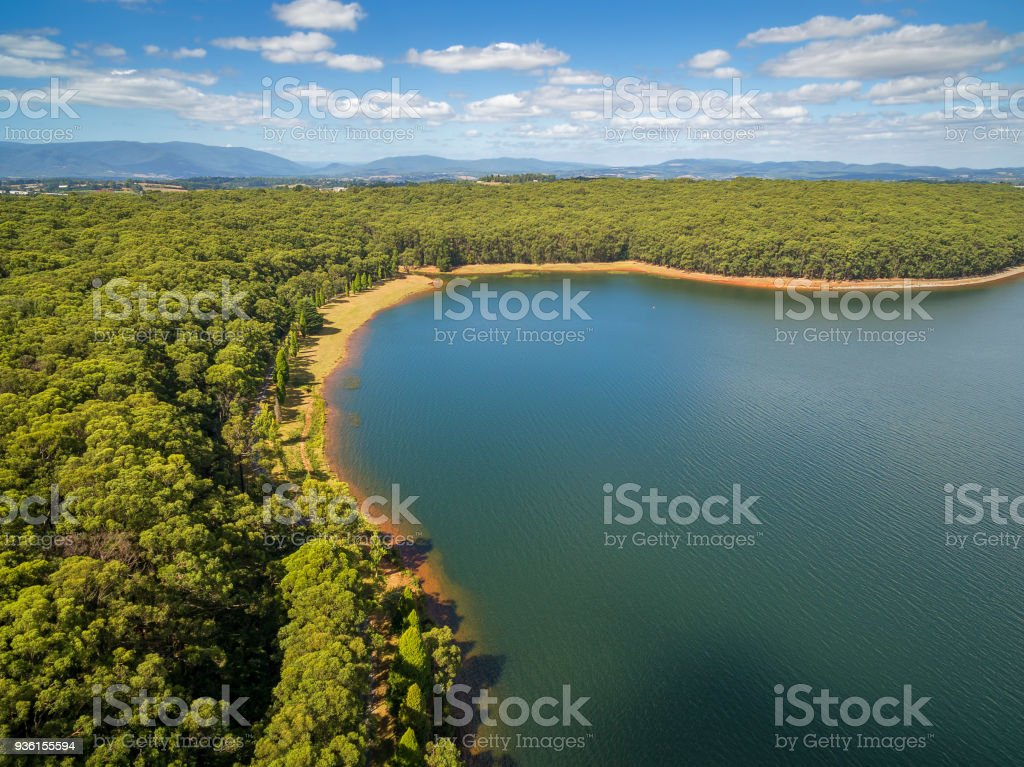 Aerial view of lake and forest under white fluffy clouds stock photo