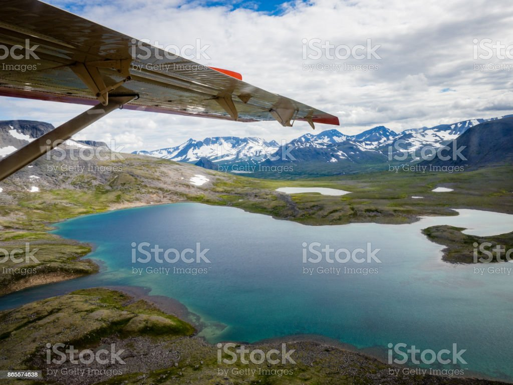 Aerial View of Lake and Mountains in Katmai National Park Wilderness, Alaska stock photo