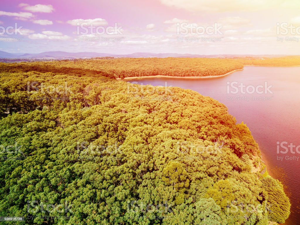 Aerial view of lake and native Australian vegetation at sunset stock photo
