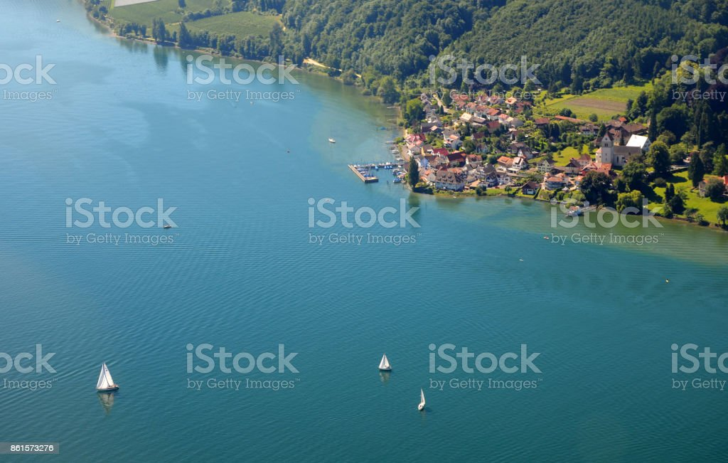 Aerial view of Lake Constance near Bodman Ludwigshafen, southern region in Germany on a sunny summer day stock photo