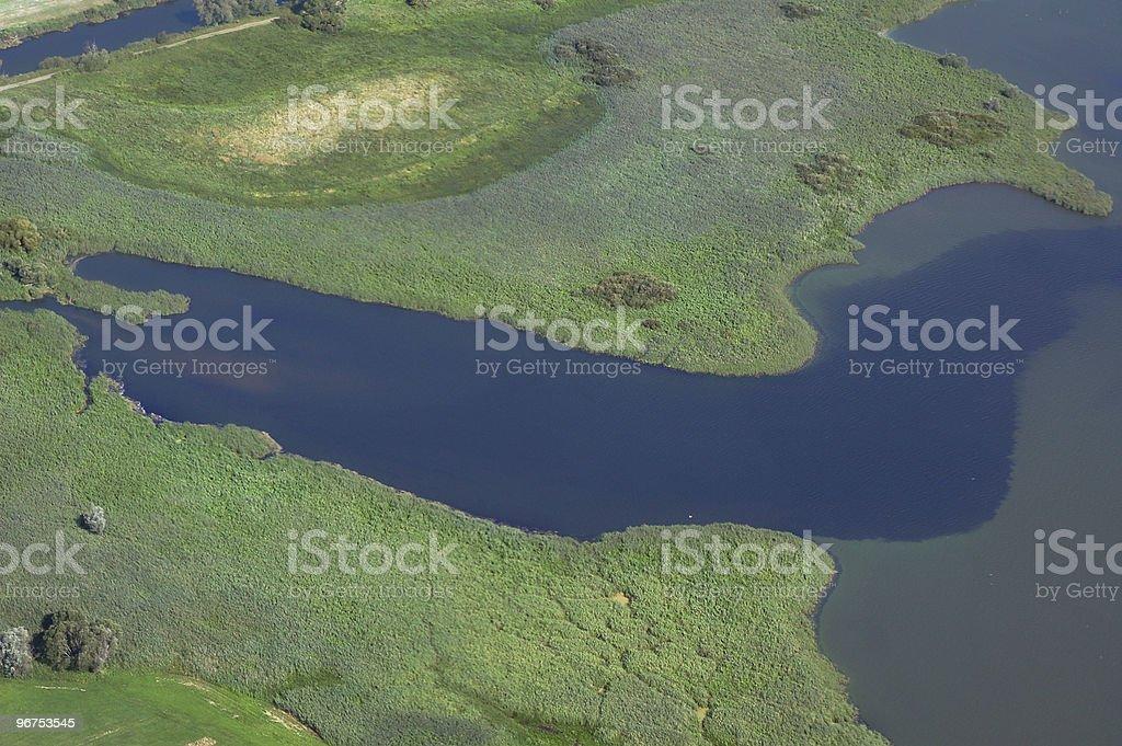 Aerial View of lake Gülpe (Brandenburg Germany) stock photo