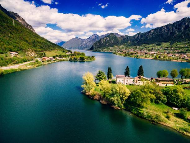 Aerial view of lake Idro near Garda in Italy. Beautiful summer landscape with lake between mountains in Italy. stock photo