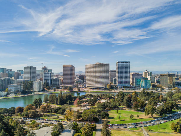 Aerial View of Lake Merritt stock photo