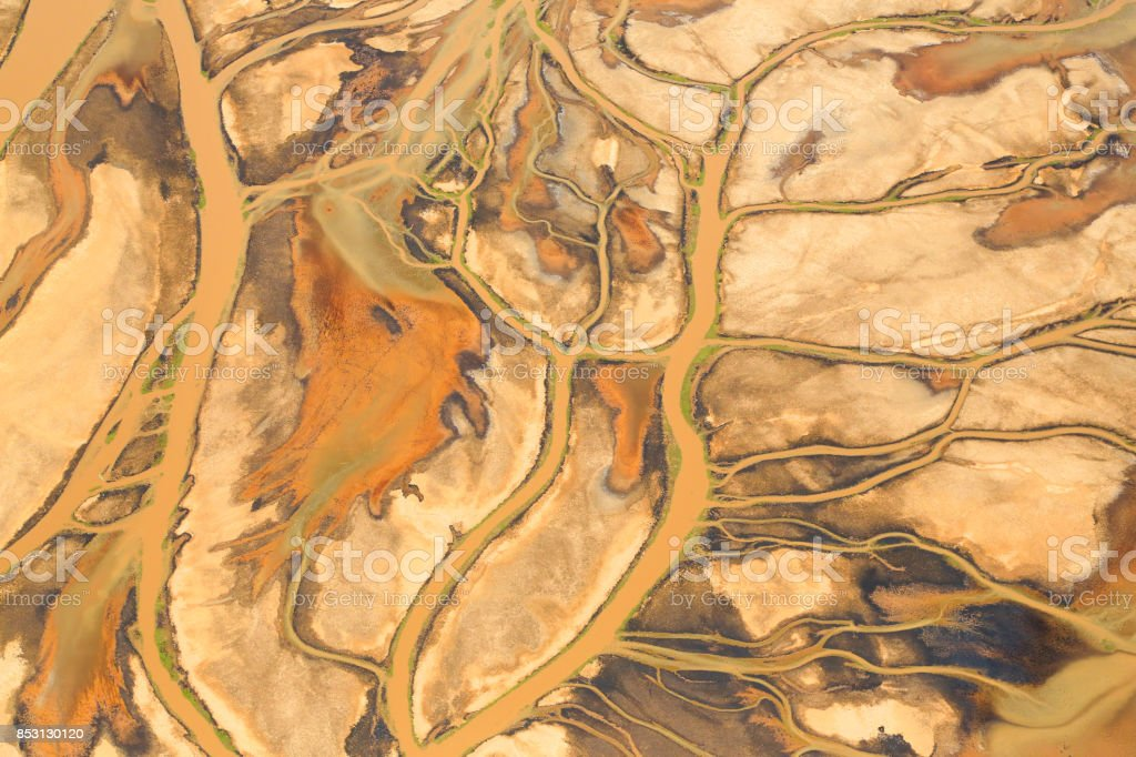 Aerial view of Lake Natron in the Great Rift Valley, on the border between Kenya and Tanzania stock photo