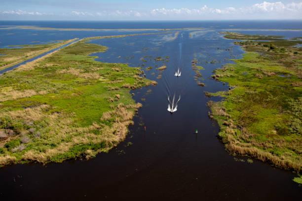 호수 Okeechobee의 항공 보기 스톡 사진